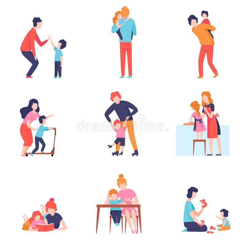 Eltern, die gute Zeit mit Kindern Satz, Mutter und Vater Teaching haben und mit Söhnen und Tochter-Vektor spielen stock abbildung