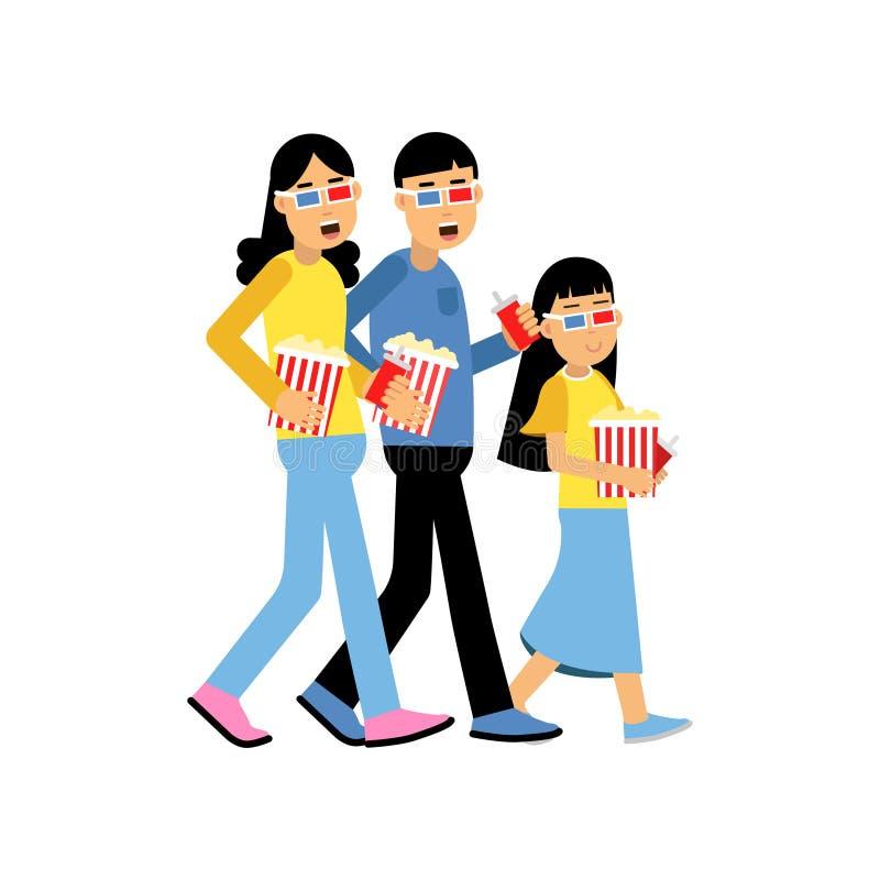 Eltern mit ihrer Tochter, die Gläser 3d mit dem Popcorn ins Kino geht, glücklicher Familienkonzeptvektor trägt stock abbildung
