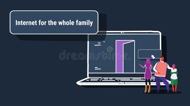 Eltern und Sohn, der Internet Laptop-Computer web browser für grasenkonzept-Leutesuchen der ganzen Familie das on-line-verwendet lizenzfreie abbildung