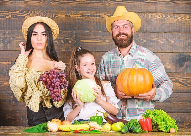 Eltern und Tochter feiern Herbsterntefest Familienbauernhofkonzept Familienlandwirte mit der Ernte h?lzern stockbild