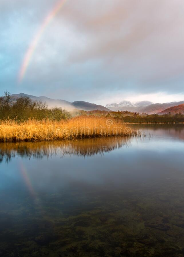Elterwater Rainbow, Lake District National Park. stock image