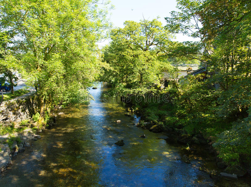 Elterwater river Lake District Cumbria valley of Great Langdale. In summer sun royalty free stock image