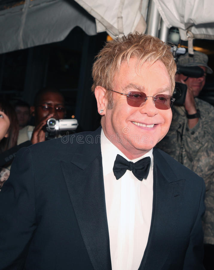 Elton John. Pop music legend Elton John arrives on the red carpet for Time Magazine's 100 Most Influential People gala in New York City on May 4, 2010 royalty free stock photography