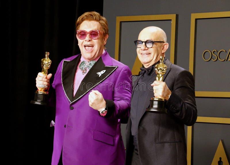 Elton John and Bernie Taupin stock photos
