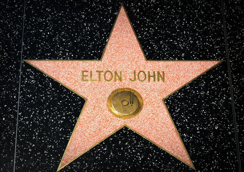 Elton John gwiazda na Hollywood spacerze sława obrazy royalty free
