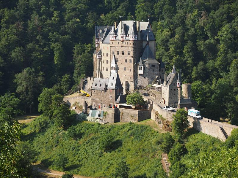 Eltz Castle is a medieval castle nestled in the hills above the Moselle River between Koblenz and Trier stock image
