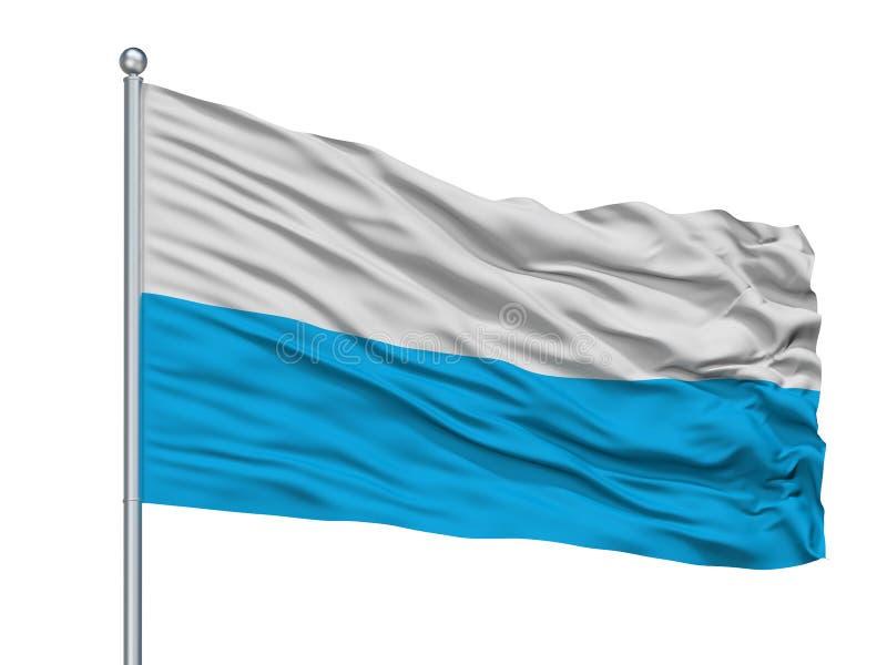 Elva City Flag On Flagpole, Estonia, aislada en el fondo blanco ilustración del vector