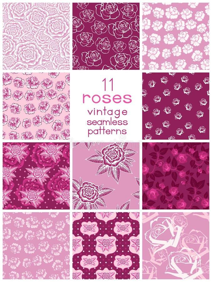 Elva sömlösa modeller med stiliserade rosor royaltyfri illustrationer