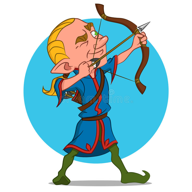 Elven archer. Vector illustration. funny character royalty free illustration