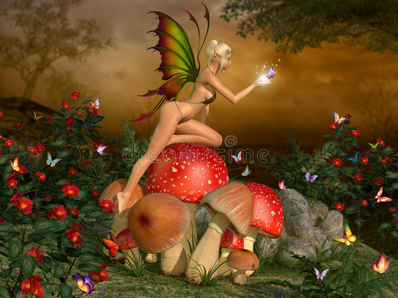 Elven beautiful woman in fairytale forest. On a mushroom with butterfly on glowing hand 3D illustration render vector illustration