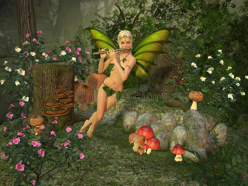 Elven beautiful woman with flute. Elven beautiful woman in fairytale forest plays on flute 3D illustration render vector illustration