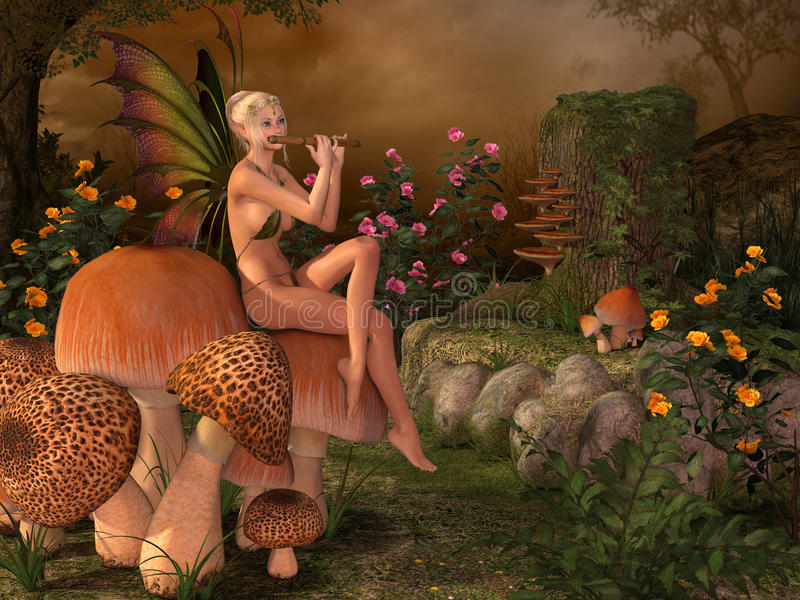 Elven beautiful woman with flute. Elven beautiful woman in fairytale forest sits on a mushroom and plays on flute 3D illustration render royalty free illustration