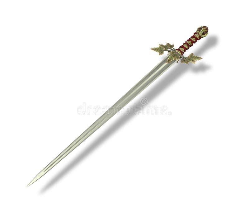 Elven Blade Sword. 3D render of an Elven battle sword on a white background vector illustration