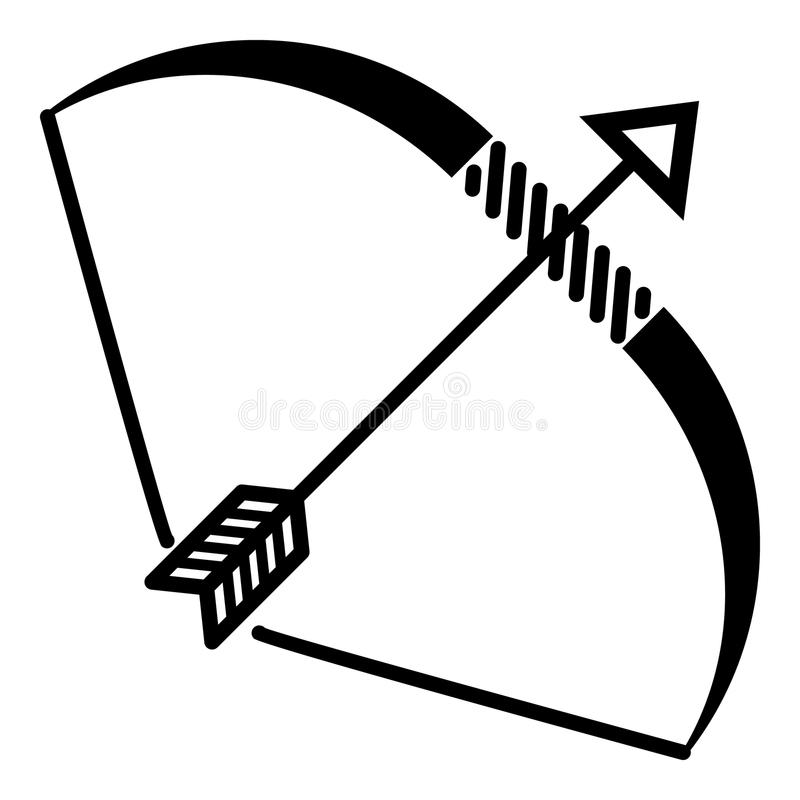 Elven bow icon, simple style. Elven bow icon. Simple illustration of Elven bow vector icon for web royalty free illustration