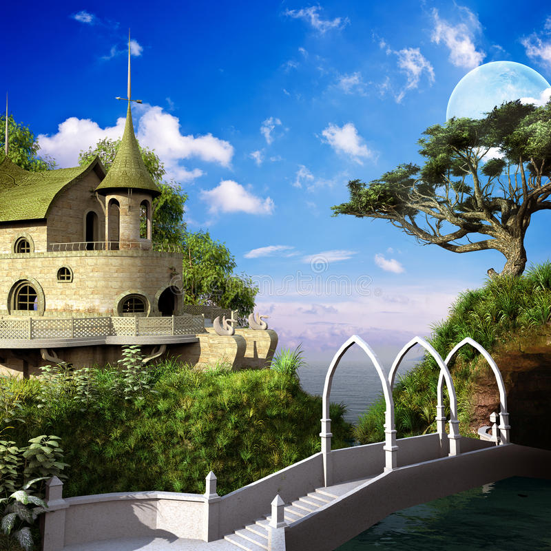 Elven bridge over the river. Elven scenery with bridge, palace and tree stock illustration