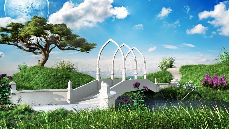 Elven bridge. White elven bridge over small river stock illustration