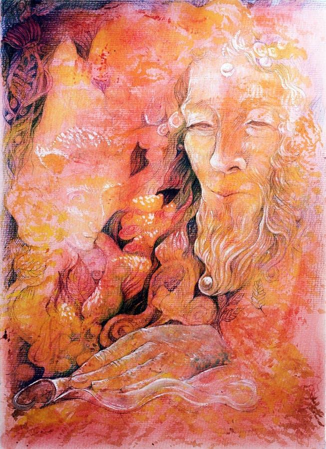 Elven czarodziejskiego królestwo; l10a:dziedzina abstrakcjonistyczny obraz, szczegółowa kolorowa grafika ilustracja wektor