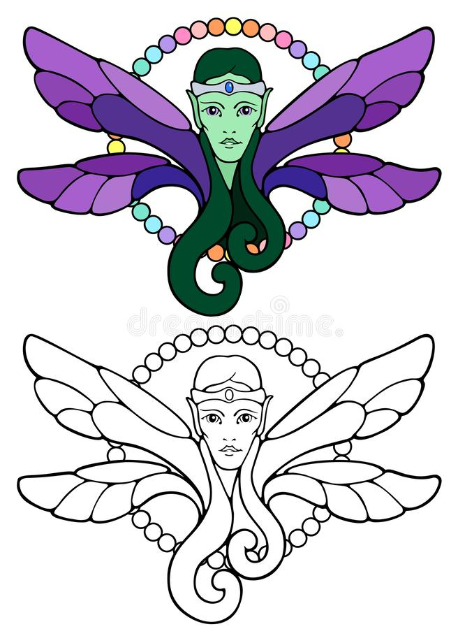 Elven fairy prince with a silver fillet. And flowing green hair royalty free illustration