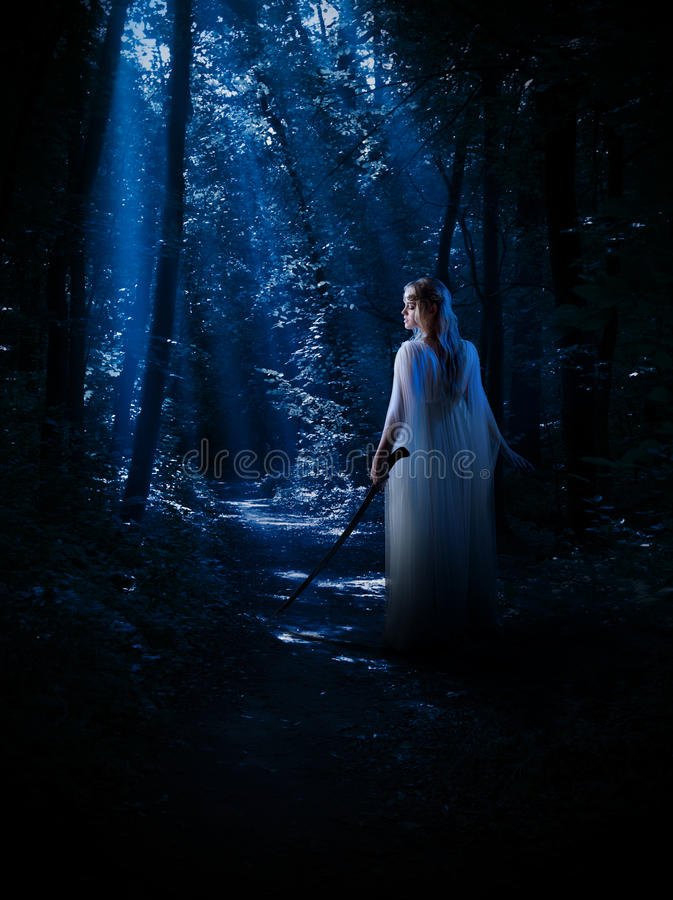 Elven girl at night forest. Young elven girl at night forest stock photography