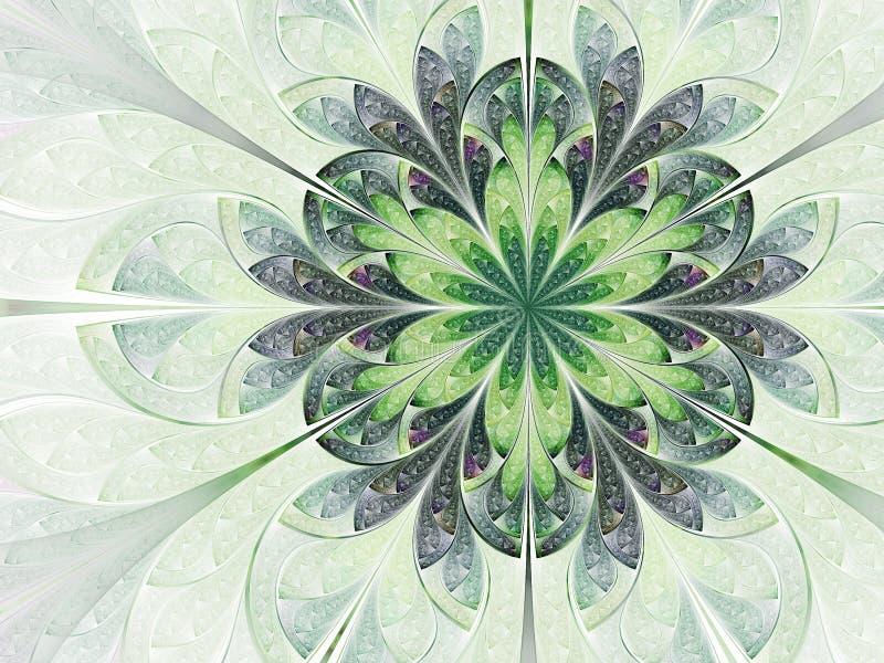 Elven green fractal flower. Digital artwork for creative graphic design stock illustration