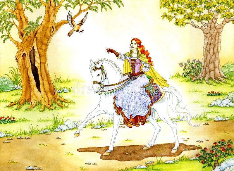 Elven Lady on white Horse. Fantasy painting of an elven sorceress riding a white horse. A shimmer of magical light surrounds her. This artwork was created vector illustration