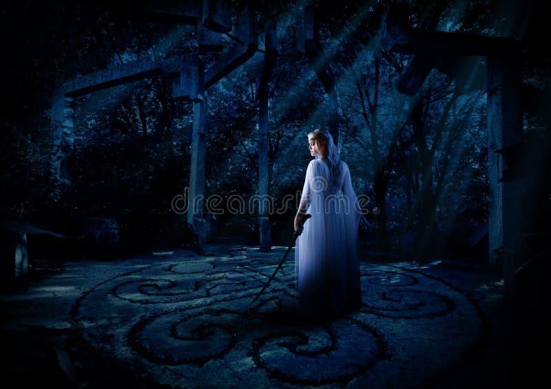 Elven-Mädchen im Nachtwald lizenzfreies stockbild