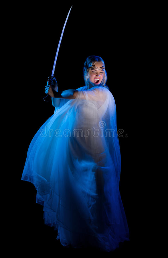 Elven-Mädchen mit Klinge lizenzfreies stockfoto