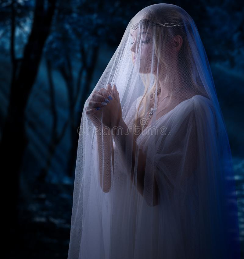 Elven-Mädchen am Wald lizenzfreie stockbilder