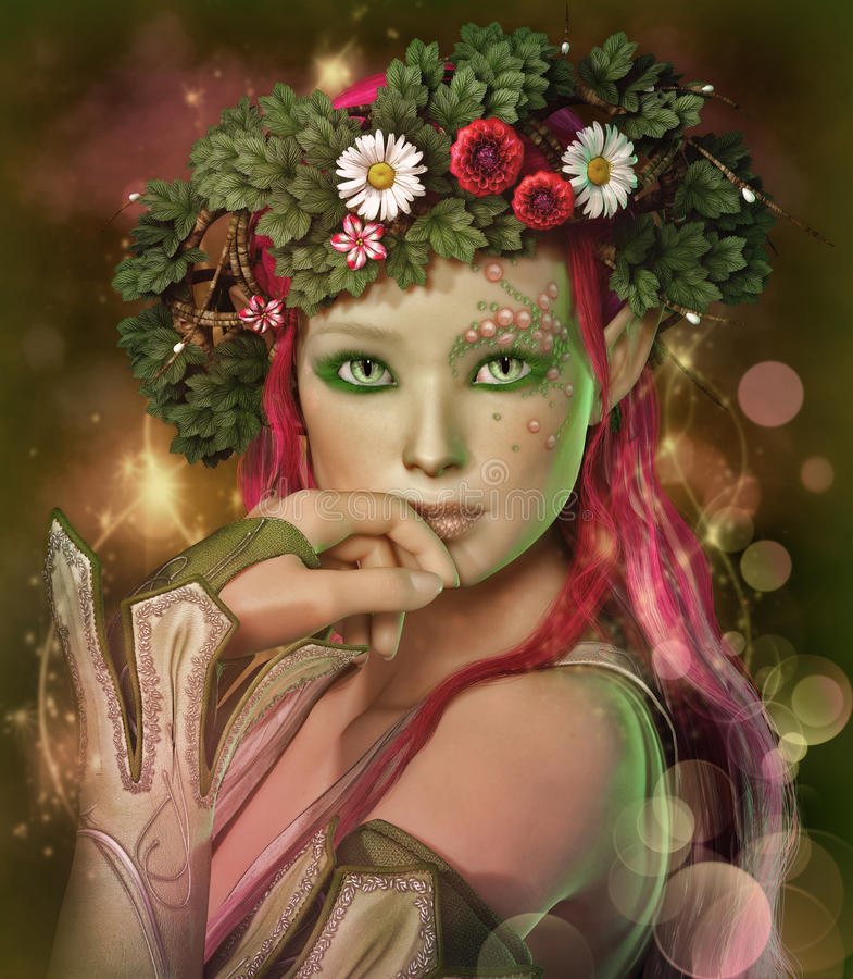 Elven Maid. A portrait of an elven maid with a wreath on her head vector illustration