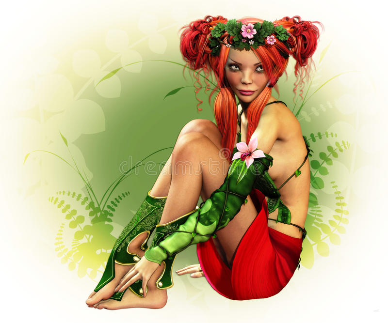 Elven Maiden. A fairylike girl with wreath and elven dress royalty free illustration