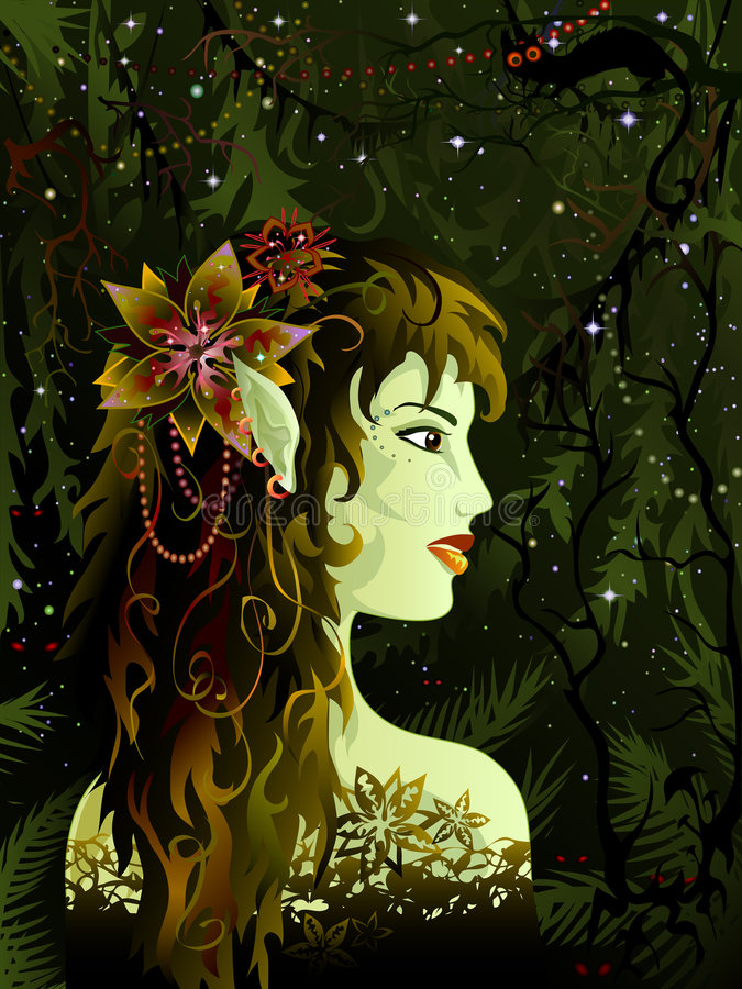 Elven maiden. In the tropical forest royalty free illustration