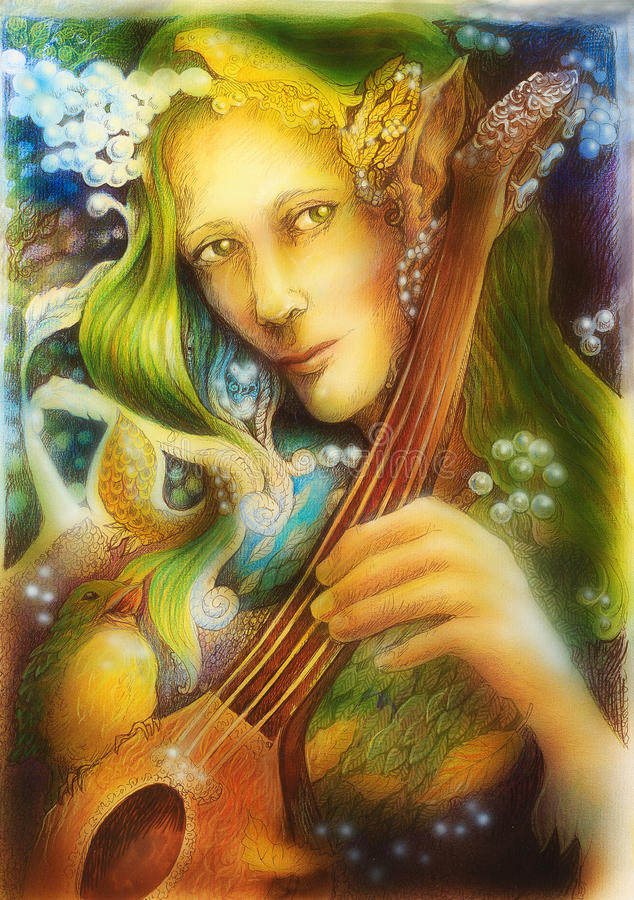 Elven man face with green hair and pearls playing a string instrument, detail.  stock illustration