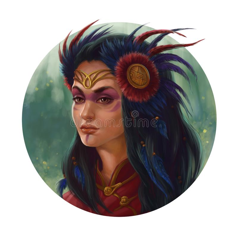 Elven princess. In diadem decorated with feathers stock illustration
