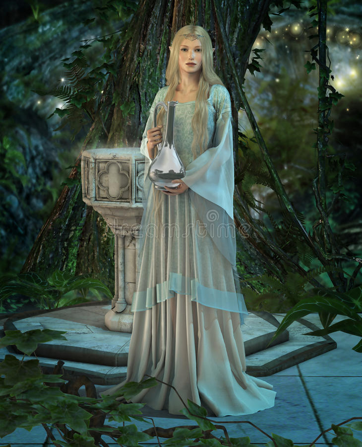 The Mirror. An elven princess with a silver carafe in their hands