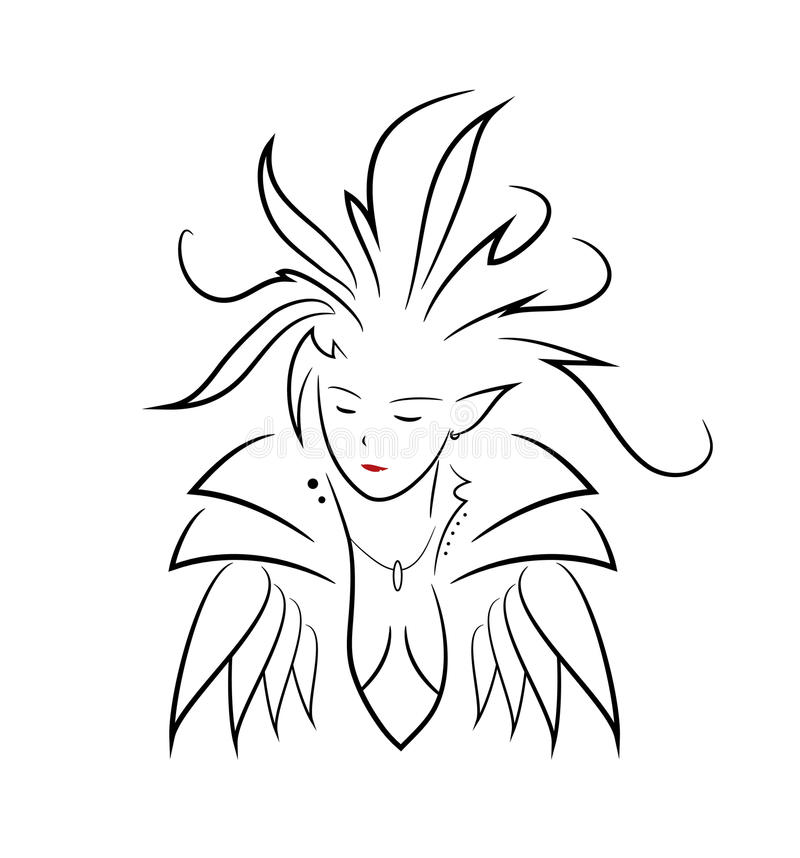 Elven Queen. A hand drawn vector illustration of an elven queen, on a white background vector illustration