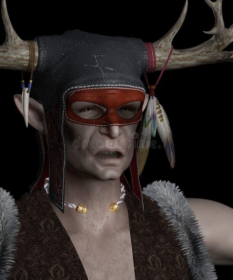 Elven Shaman Portrait. Portrait of an Elven shaman with antlered headdress on a black background, 3d digitally rendered illustration vector illustration
