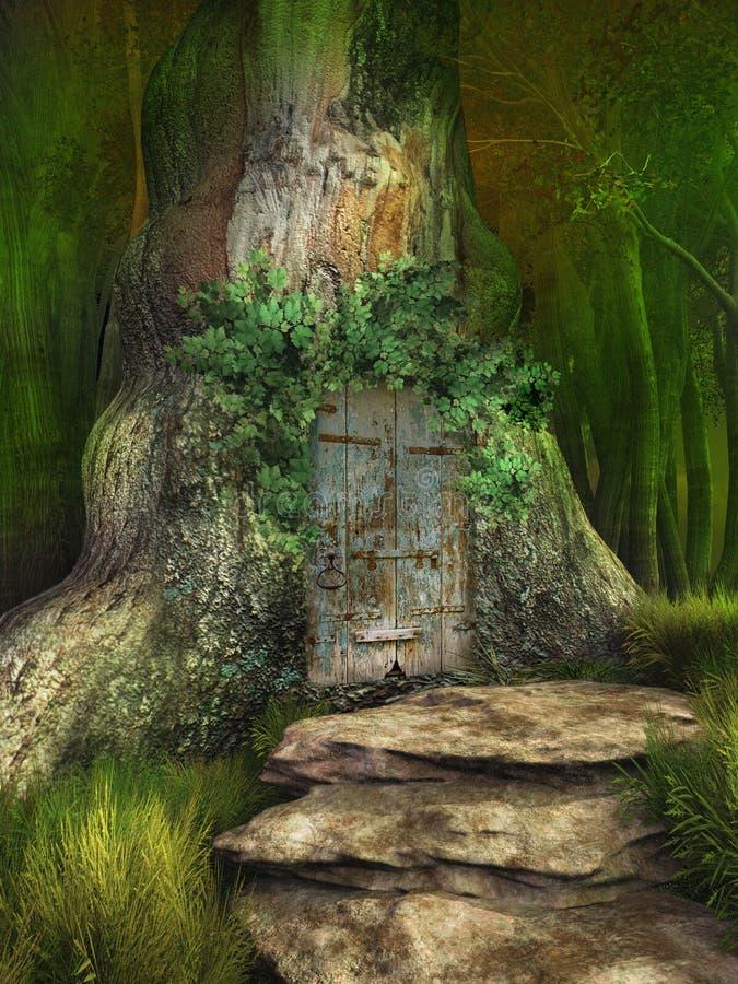 Elven tree house. Door to elven tree house stock illustration