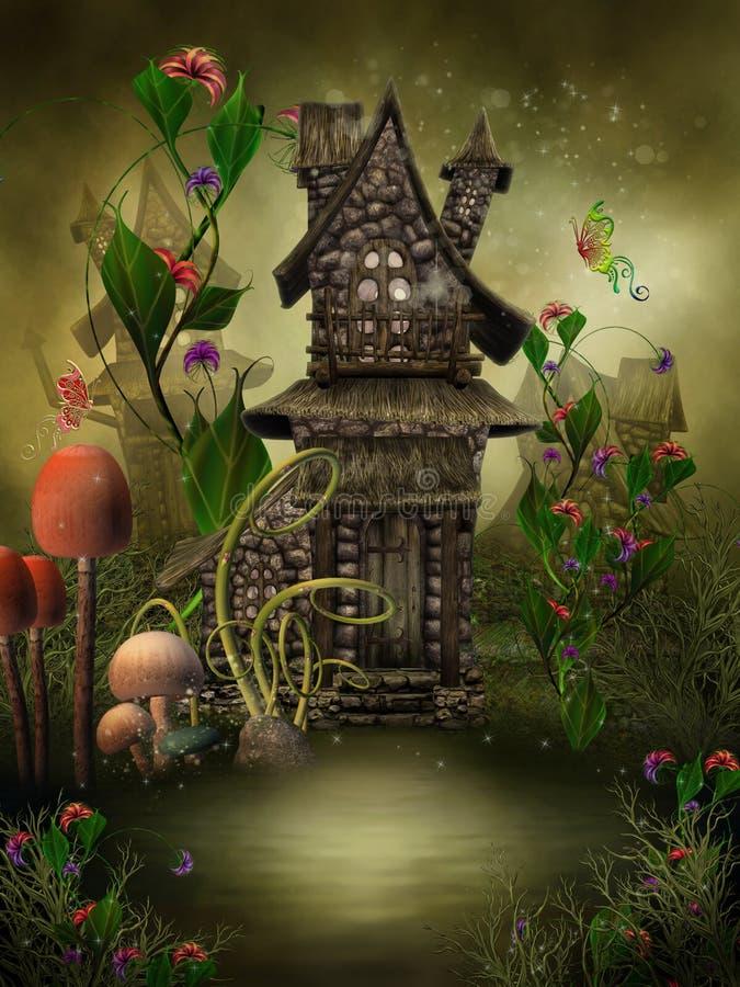 Elven village. Fantasy elven village with flowers and mushrooms vector illustration