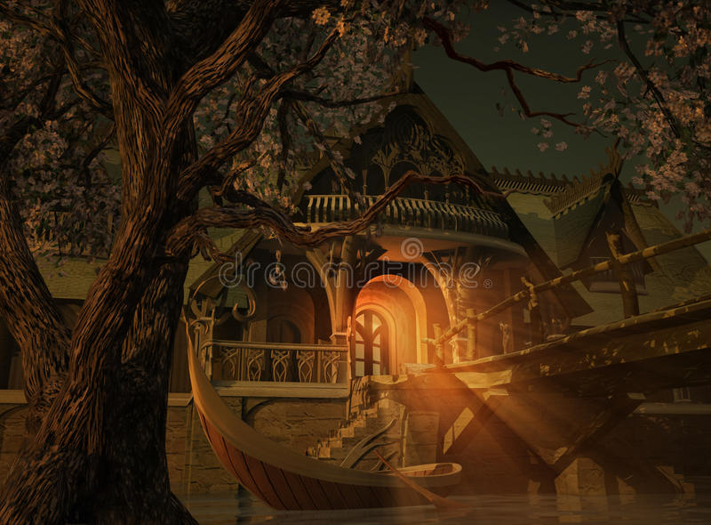 Elvenhome 3d CG. illustration stock