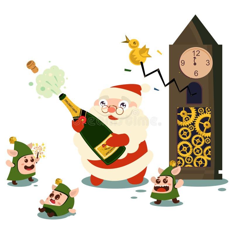 Elves, Babbo Natale e bottiglia di champagne Vettore royalty illustrazione gratis