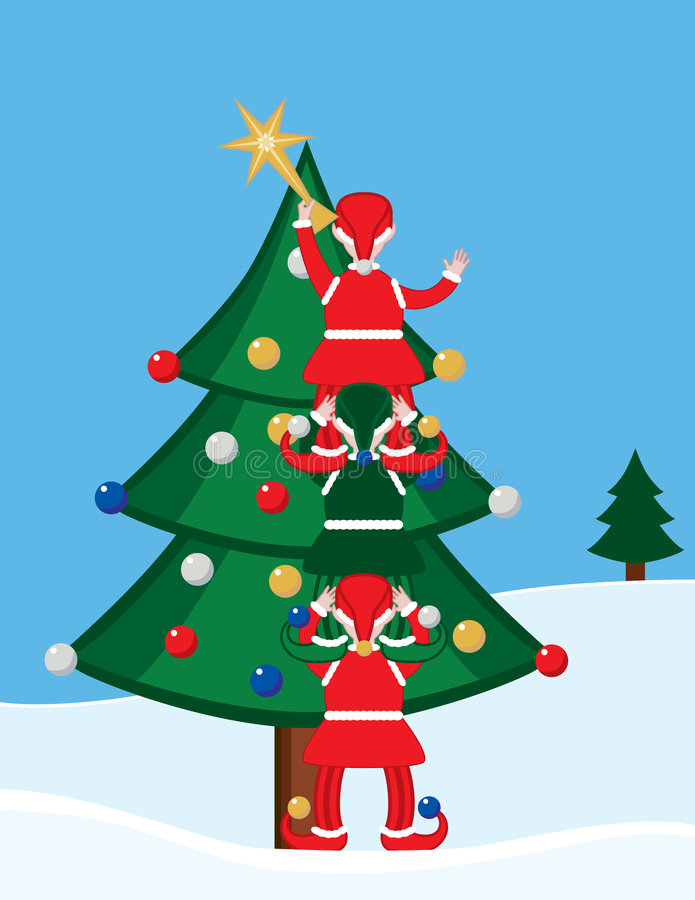 Download Elves and Christmas Tree stock vector. Illustration of christmas - 4445513