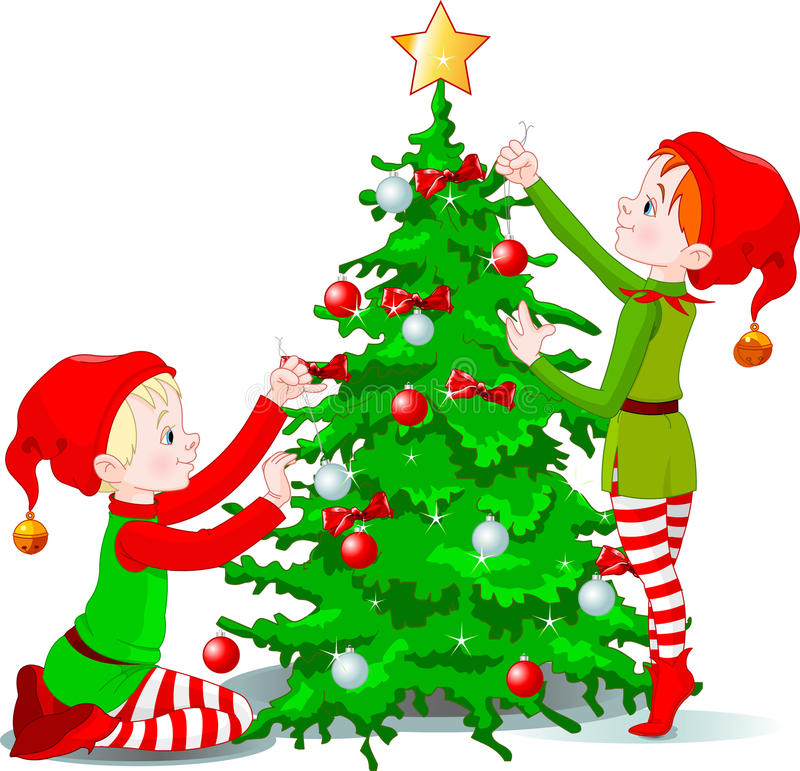 Elves decorate a Christmas Tree royalty free illustration