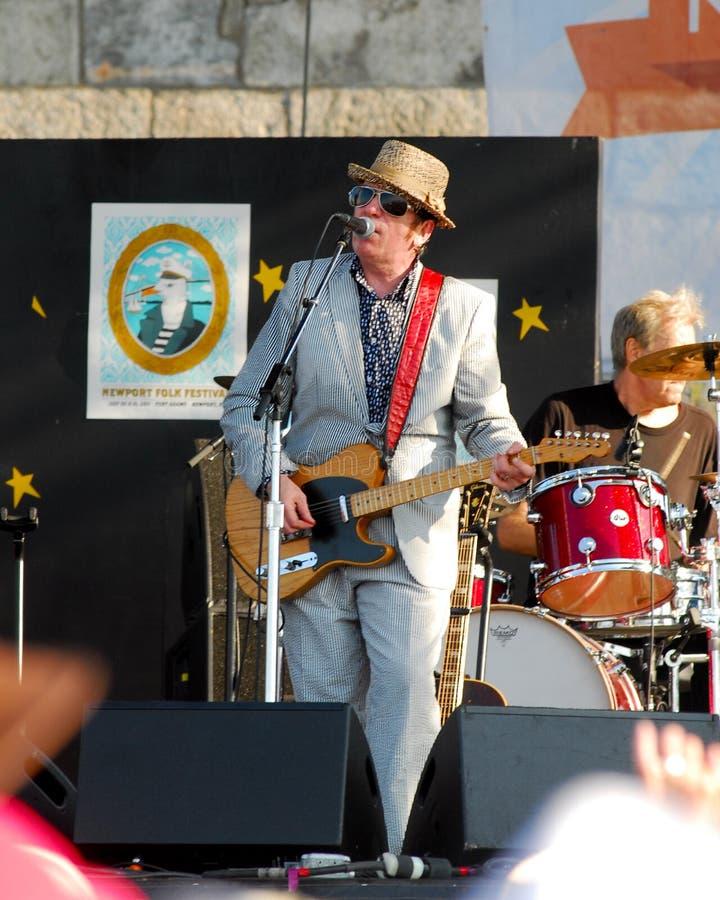 Elvis Costello at Newport Folk Festival. stock photo