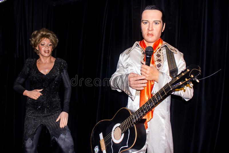 Elvis e Tina Turner, statue della cera fotografia stock