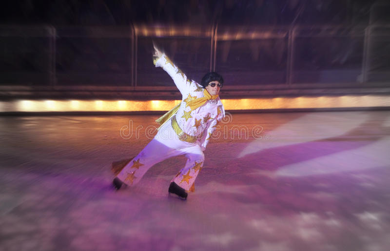 Elvis on Ice. An Elvis impersonator ice skating on a show aboard the Royal Caribbean Liberty of the Seas. This photo taken in October 2012