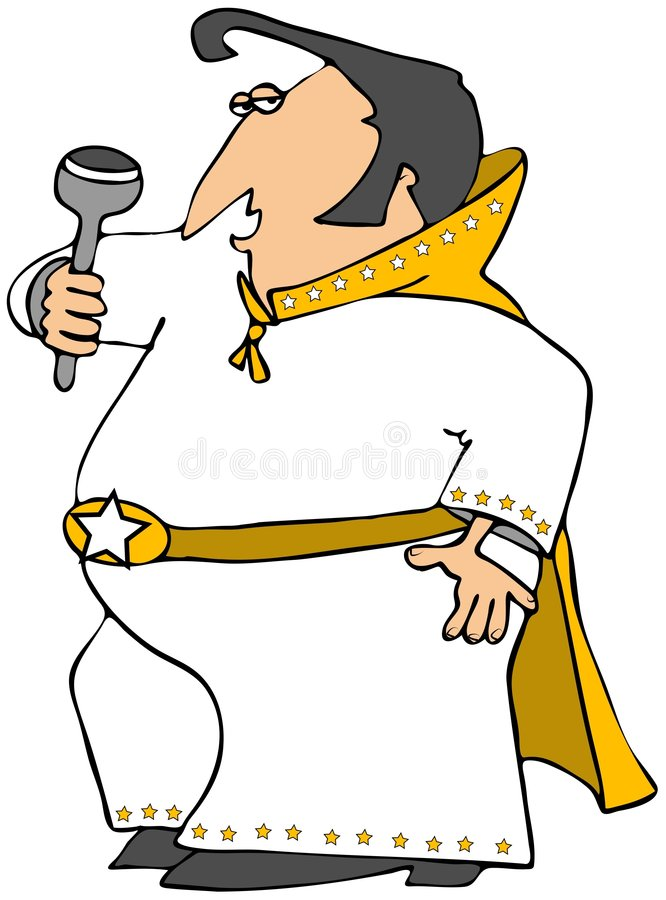 Elvis Impersonator. This illustration depicts a man dressed up in a star-studded outfit with a cape and holding a microphone stock illustration