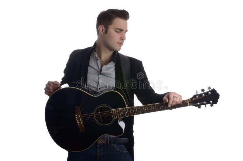 Elvis met gitaar stock afbeeldingen