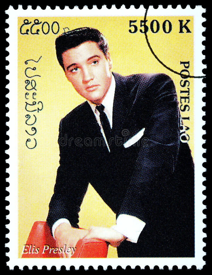 Elvis Presely Postage Stamp. LAOS - CIRCA 2000: A postage stamp printed in Laos showing Elvis Presley, circa 2000 royalty free illustration
