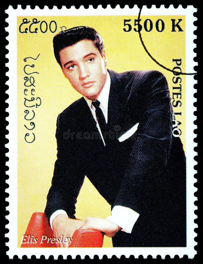 Elvis Presely Postage Stamp. LAOS - CIRCA 2000: A postage stamp printed in Laos showing Elvis Presley, circa 2000