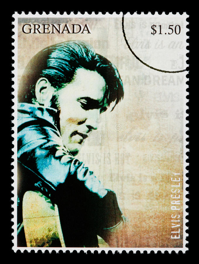 Elvis Presely Postage Stamp. GRENADA - CIRCA 2000: A postage stamp printed in Grenada showing Elvis Presley, circa 2000